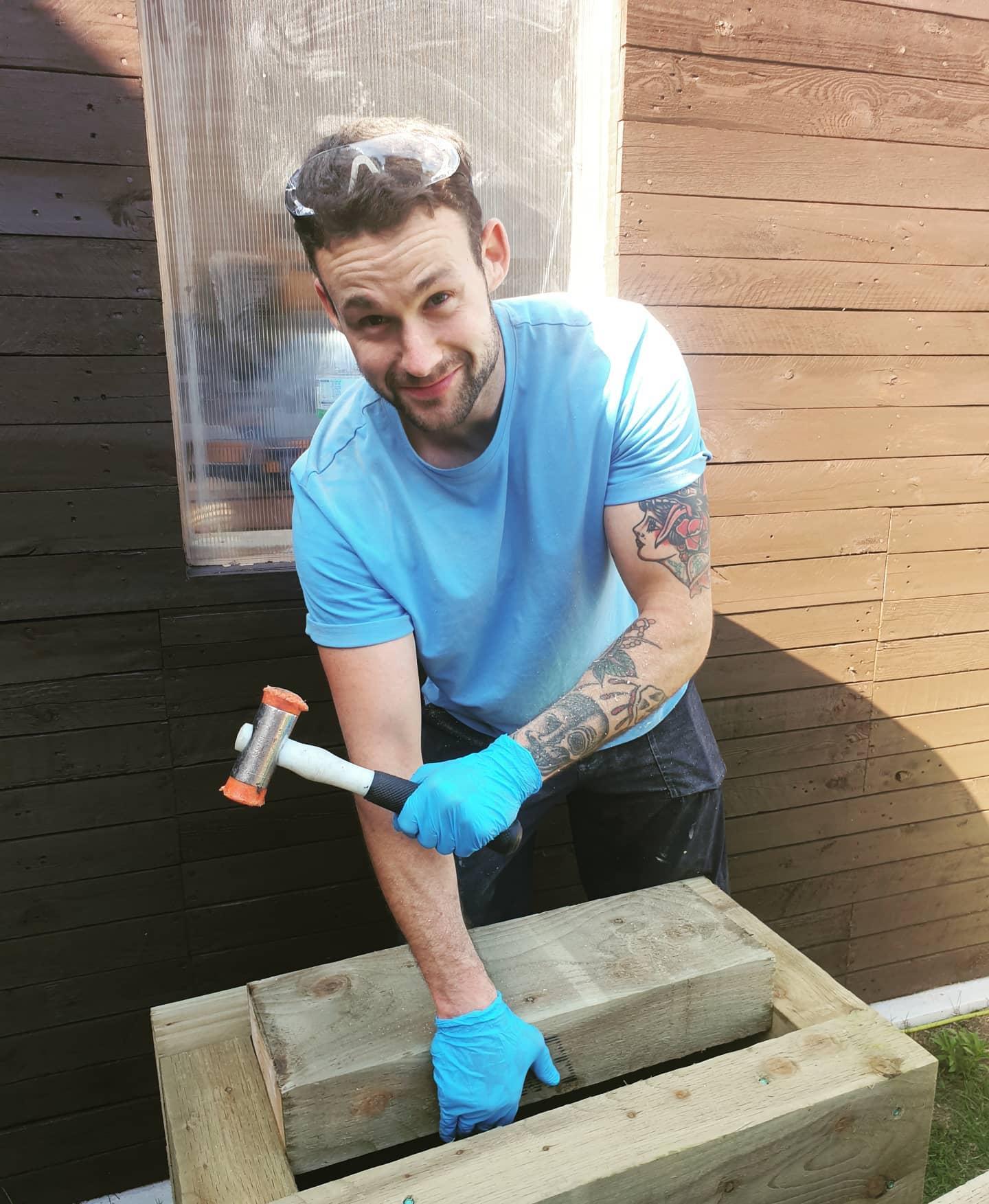Ryan making planters